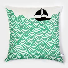 'bigger boat' silkscreen by mengsel - la trama del mar para pintar tazas, telas. Cute Pillows, Throw Pillows, Sofa Pillows, Silkscreen, Pillow Fight, Silk Screen Printing, Fabric Printing, My New Room, At Least