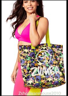 "ZUMBA ZMOJI TOTE BAG Gym-Travel-Beach-Backpack,Jumbo ~DURABLE 19""X16"" CONVENTION #Zumba #ToteBag"