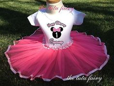 Minnie Mouse Birthday girl Outfit Name Shirt Pink Tutu 1st 2nd 3rd 4th 5th 6 7