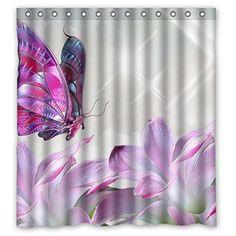 Purple Butterfly Flower Custom Style Bathroom Fabric Shower Curtain