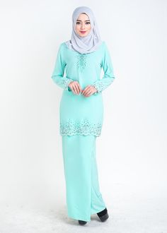 baju kurung moden sophea biru front