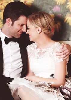Leslie and Ben on their wedding day. By far, my favorite TV couple EVER. Why are they so perfect??