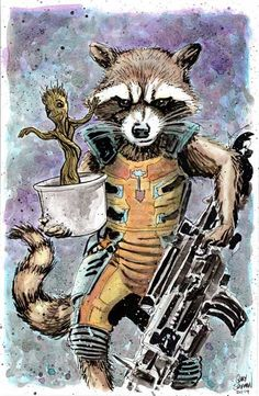 Rocket Baby Groot Guardians 11 x 17 Signed