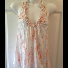 Free People tank S White/orange/blue No size but looks like a small 16.5 chest 23.5 length Free People Tops Camisoles