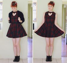 Get this look: http://lb.nu/look/5799653  More looks by Annika Victoria: http://lb.nu/annikavictoria  Items in this look:  Diy Heart Cutout Dress, Leather Boots