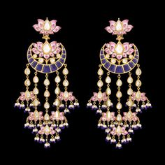 Chandbala style shoulder-dusters by Sunita Shekhawat with pink enamel My fancy chandekiers might work for something like this Indian Jewelry Earrings, Fancy Jewellery, Jewelry Design Earrings, Indian Wedding Jewelry, Bridal Jewelry, Jewelery, Silver Jewellery, Diamond Jewelry, Diamond Earrings