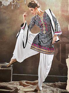 Gray Satin Printed Punjabi Suit 84741
