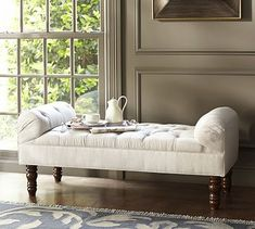 Lorraine Tufted Bench #potterybarn