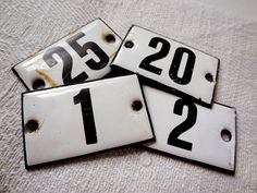 vintage enamel numbers from Germany – available at AtticAntics on Etsy
