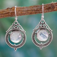 1559528d0 Handcrafted Rainbow Moonstone and Sterling Silver Earrings, 'Mumbai Moons'