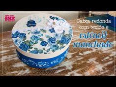 Caixa redonda com tecido e estêncil manchado (Andréa Pavan) - YouTube