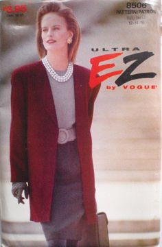 Ultra EZ Vogue 8506 - Unlined Jacket and Tapered Skirt Sewing Pattern - Sizes 12-14-16, Bust 34 - 38, Uncut by Shelleyville on Etsy