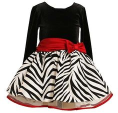 Party-perfect dress by Bonnie Jean! - In classic black, white and red, it features velvet bodice, flocked zebra taffeta skirt, with red satin trim and bow (available in sz.12m-16). #Christmas #holidays