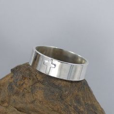 Sterling Silver Wide Band Cross Ring by jkadesigns on Etsy