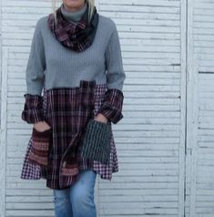15 % Rabatt Pullover Tunika L/XL, Upcycled Kleidung, Recycling Pullover, grau und Ginseng, Rollkragen Tunika, Größe L/XL