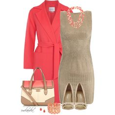 Coral and Taupe by imclaudia-1 on Polyvore featuring STELLA McCARTNEY, MaxMara, Monet, Betty Jackson and Enzo Angiolini