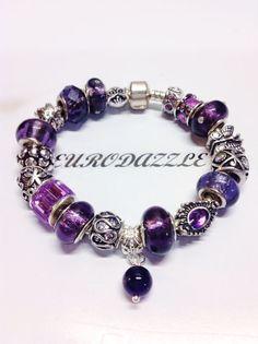 A European charm bracelet with czs  Purple Rain by eurodazzle, $70.00