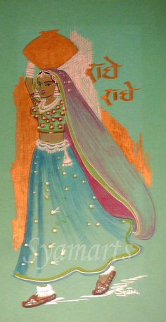Original drawing for sale 5.x11inches  The water carrier. Indian Rajastani woman, pencil and ink drawing, lady with pot, ethnic art,