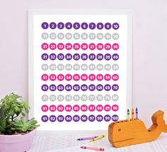 Numbers chart for kids, Pink and Purple. Numbers chart for kids. Numbers chart for learning don't have to be an eye sore anymore. This fun and colorful numbers chart for kids digital print can be a great educational tool for early learners still learning to recognize their numbers or improve their counting and math skills. #numbersprint #kidsdecor #kidschart #educationalart #kidsprint #mathskills #education #educationforkids #learningtoolsforkids