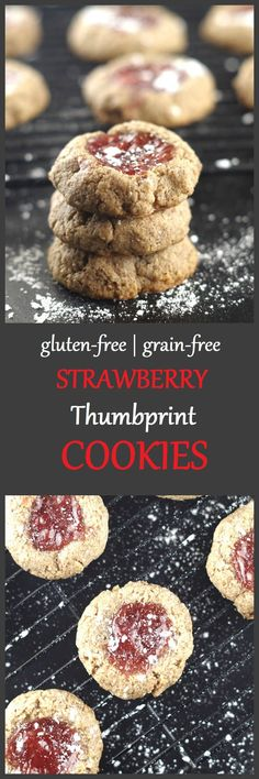 Enjoy these gluten-free, grain-free, dairy-free strawberry thumbprint cookies any time of the year. Who knew a thumbprint cookie could be this good for you.
