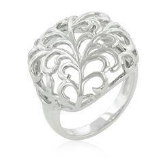 Silvertone Finish Floral Filigree Ring, $20.00