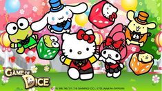 Game of Dice x Hello Kitty & Friends Sanrio Characters, Fictional Characters, Hello Kitty My Melody, Hello Kitty Wallpaper, Love Games, Lucky Day, Fb Covers, Little Twin Stars, Indie Games