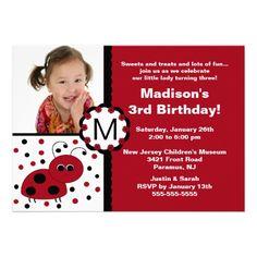 Red Ladybug Photo Birthday Invitation.  $2.15