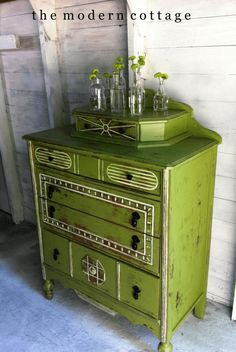 lime green vintage dresser, pantone golden lime, chartreuse, avocado green