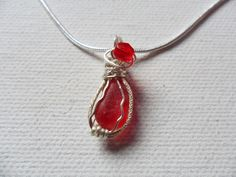 "Berry red sea glass necklace - Sterling silver 18"" chain, swarovski crystal and wire wrapping by ShePaintsSeaglass on Etsy"