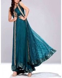 Teal Embroidered Anarkali Frock Crinkle Chiffon Party Special Dress