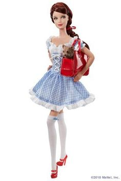 wizard of oz barbie like this, just longer. Knee length or just below the knee