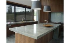 Polished concrete benchtop Wellingtons, Concrete fireplace