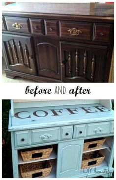 Transforming an Outdated Hutch to Coffee Bar