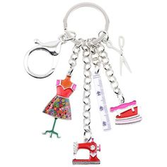 Bonsny Alloy Sewing machine Tools Scissor Flatiron Key Chains Ring Gift For Women Girl Bag Charm Keychain Charm Keyring Jewelry. Keychain Design, Cute Keychain, Tassel Keychain, Leather Keychain, Keychains, Unique Key, Key Chain Rings, Girls Bags, Sewing Tools