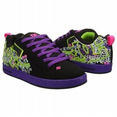 Athletics DC Shoes Women's Court Graffik SE Blk/Flourescent Prpl Shoes.com