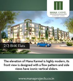The ele­va­tion of Mana Karmel is highly mod­ern, its front view is designed with a flow pat­tern and side views have iconic vertical slid­ers.  For Booking Or More Info: Visit: www.manaprojects.co.in Call: +91 7676 333 000