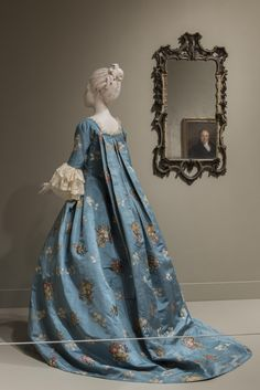 """Woman's Dress (Open Robe à la française and Petticoat),"" c. 1760–65 with later alterations, made in France and the United States"