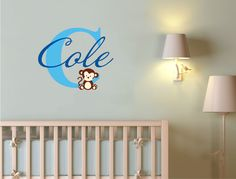 Baby name wall sticker with monkey decal Baby Wall Stickers, Personalised Wall Stickers, Custom Wall Stickers, Name Stickers, Wall Sticker Design, Wall Decal Sticker, Childrens Wall Decals, Monogram Decal, Family Wall