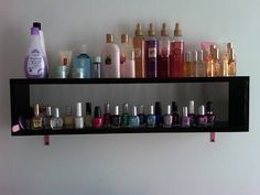 Nail Polish/Perfume Shelf out of a CD rack by wiseblueberry at www.craftster.org
