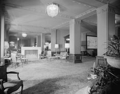 The Ambassador Hotel, Lobby (1951) 3400 Wilshire Boulevard, Los Angeles, CA (1921-1989; demolished 2008).  Paul Revere Williams designed the hotel's exterior and interior for its 1949 renovation.