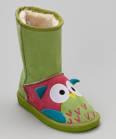 Look what I found on #zulily! Green Owl Toasty Toes Boots - Kids by Lazy One #zulilyfinds