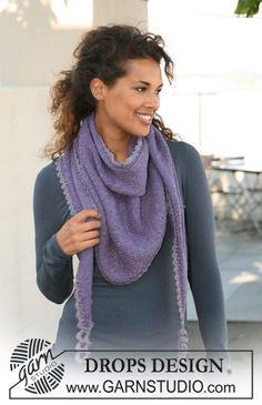 """Stola DROPS a maglia rasata con bordo all'uncinetto in """"Nepal"""". ~ DROPS Design - scarf crochet border"""