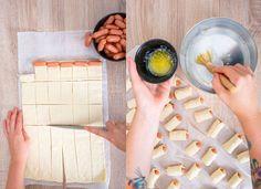 Párky vtěstíčku sdomácím sýrovým dipem - Proženy Mini Four, Dip, Cooking Recipes, Snacks, Pizza, Fours, Decor, Decorating, Gravy