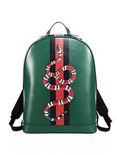 Gucci - Snake Printed Leather Backpack Gucci Handbag Men 0551588a6d358