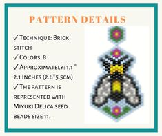 Brick Stitch Earrings, Beaded Animals, Beaded Ornaments, Diy Earrings, Beautiful Patterns, Beading Patterns, Seed Beads, Stitch Patterns, Handmade Items