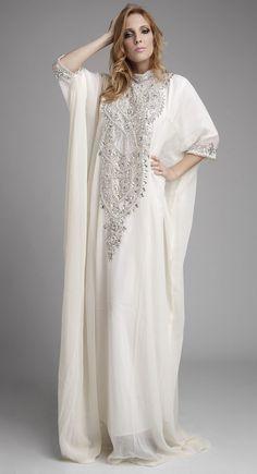 Fashionable Off White Color Long Sleeve #Kaftan
