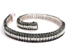 18k White Gold 3-Row Black and White #Diamond Tennis Bracelet