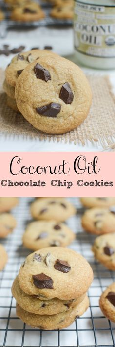 Coconut Oil Chocolate Chip Cookies - use coconut oil instead of butter in these delicious cookies! This is my favorite chocolate chip cookies recipe!