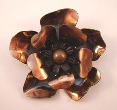 Large copper flower brooch by YosFinds on Etsy, $15.00