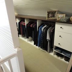 Attic storage - interesting technique for mounting clothing rails on the angled wall/ceiling. room inspiration | Home Decor that I love | Pinterest | Attic ... & Attic storage - interesting technique for mounting clothing rails on ...